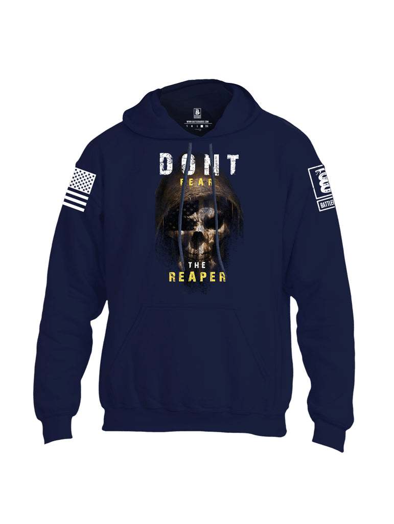 Battleraddle Dont Fear The Reaper White Sleeve Print Mens Blended Hoodie With Pockets