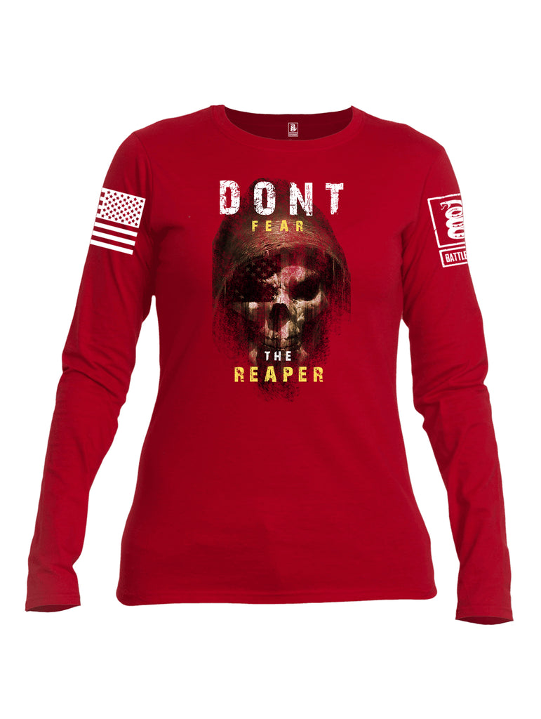 Battleraddle Dont Fear The Reaper White Sleeve Print Womens Cotton Long Sleeve Crew Neck T Shirt