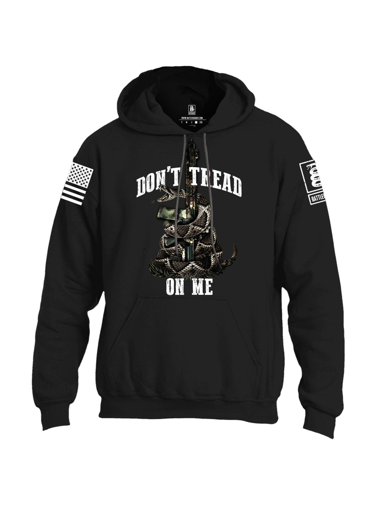 Battleradde Don't Tread On Me AR15 White Sleeve Print Mens Blended Hoodie With Pockets