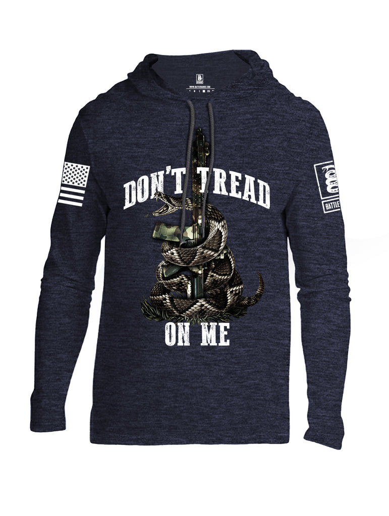Battleradde Don't Tread On Me AR15 White Sleeve Print Mens Thin Cotton Lightweight Hoodie