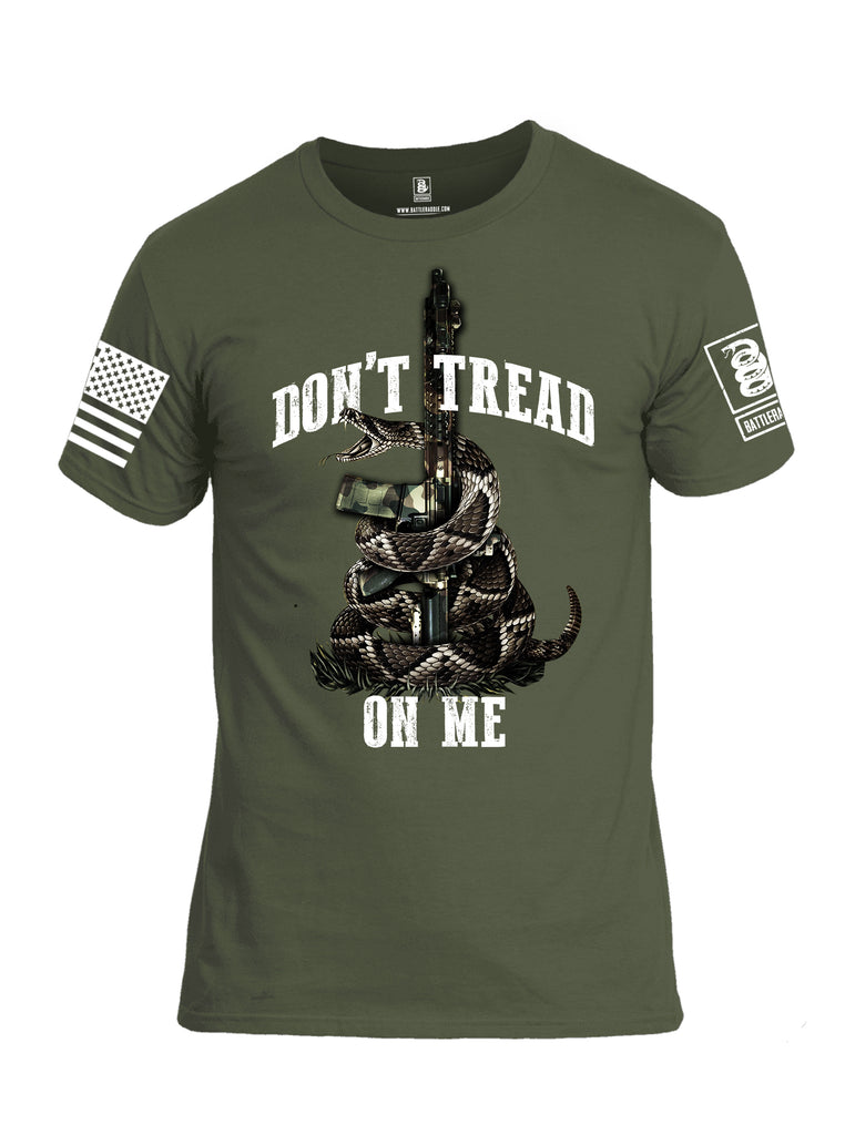 Battleraddle Don't Tread On Me AR15 White Sleeve Print Mens Cotton Crew Neck T Shirt