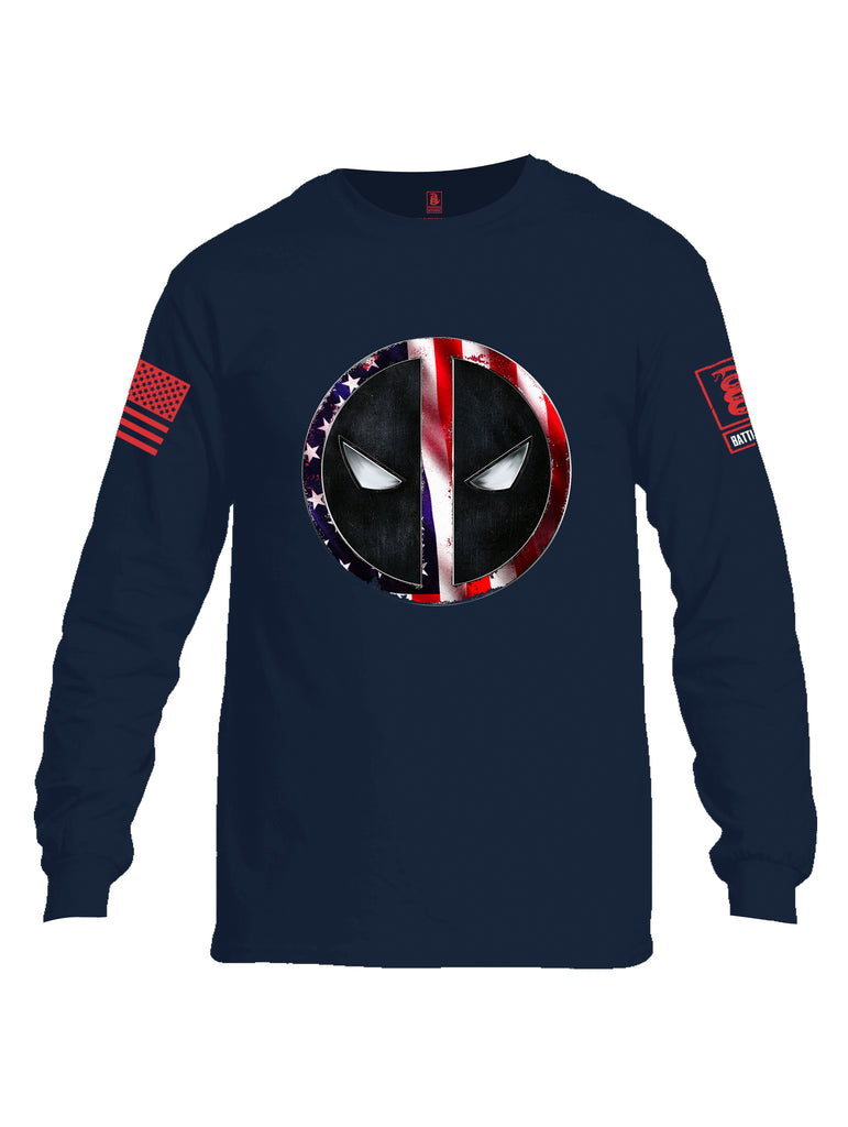 Battleraddle Patriotic American Flag Avenger Dead Man Snake Eyes Red Sleeve Print Mens Cotton Long Sleeve Crew Neck T Shirt