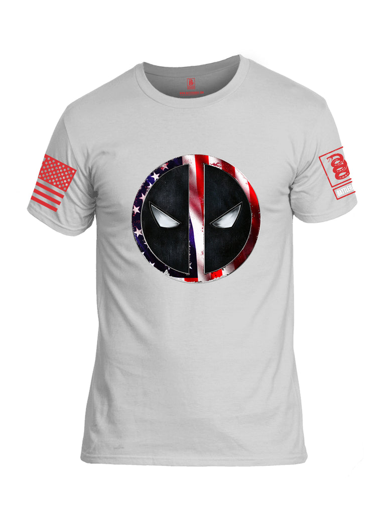 Battleraddle Patriotic American Flag Avenger Dead Man Snake Eyes Red Sleeve Print Mens Cotton Crew Neck T Shirt