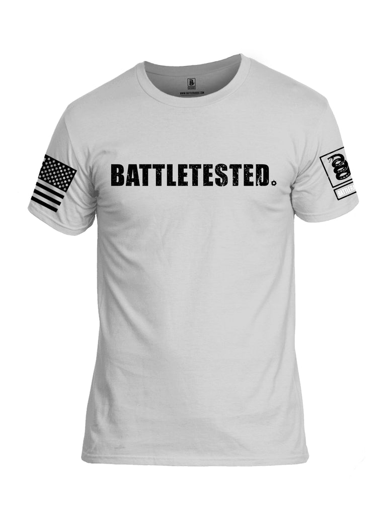 Battleraddle Battletested Black {sleeve_color} Sleeves Men Cotton Crew Neck T-Shirt