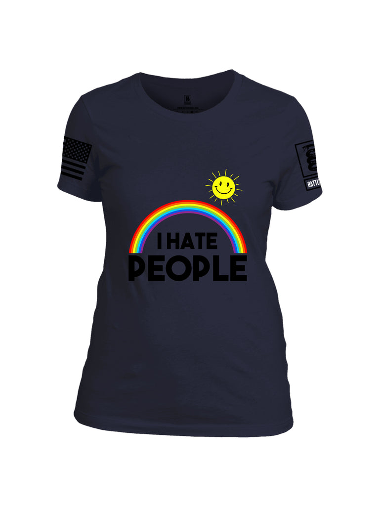 Battleraddle I Hate People {sleeve_color} Sleeves Women Cotton Crew Neck T-Shirt