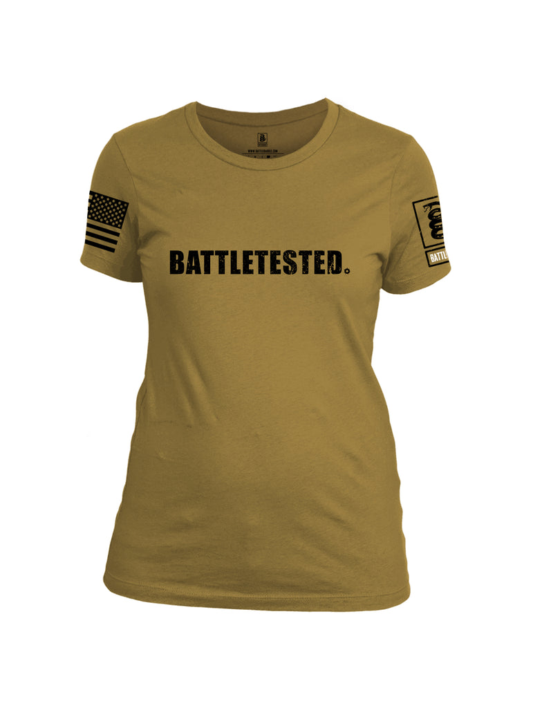 Battleraddle Battletested Black {sleeve_color} Sleeves Women Cotton Crew Neck T-Shirt