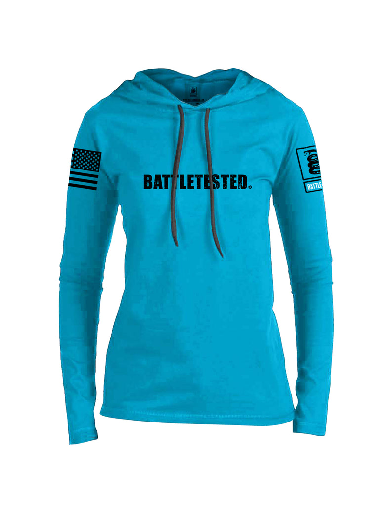 Battleraddle Battletested Black {sleeve_color} Sleeves Women Cotton Thin Cotton Lightweight Hoodie