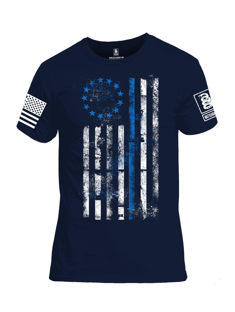 Battleraddle 13 Colonies Thin Blue Line Vertical Flag Men Cotton Crew Neck T-Shirt