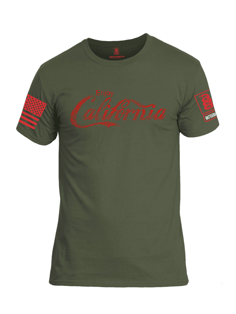 Battleraddle Enjoy California Red Sleeve Print Mens Cotton Crew Neck T Shirt
