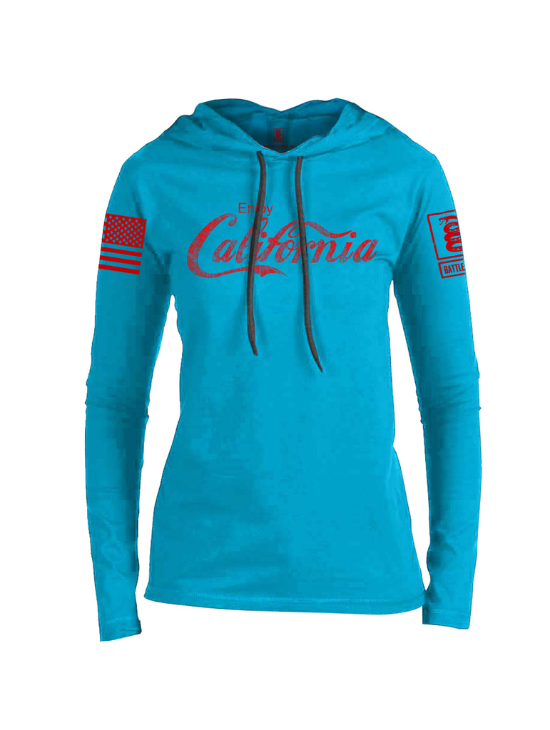Battleraddle Enjoy California Red Sleeve Print Womens Thin Cotton Lightweight Hoodie