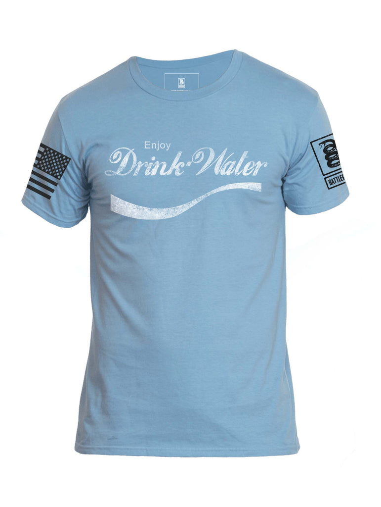 Battleraddle Enjoy Drink Water Mens Crew Neck Cotton T Shirt