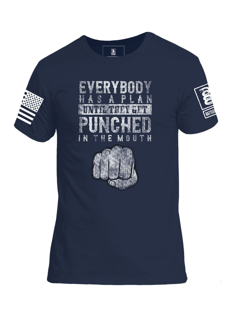 Battleraddle Everybody Has A Plan Until They Get Punched In The Mouth White Sleeve Print Mens Cotton Crew Neck T Shirt
