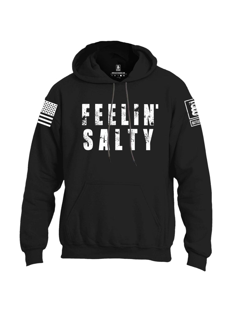 Battleraddle Feelin' Salty White Sleeve Print Mens Blended Hoodie With Pockets