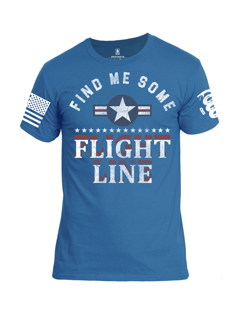 Battleraddle Find Me Some Flight Line White Sleeve Print Mens Cotton Crew Neck T Shirt