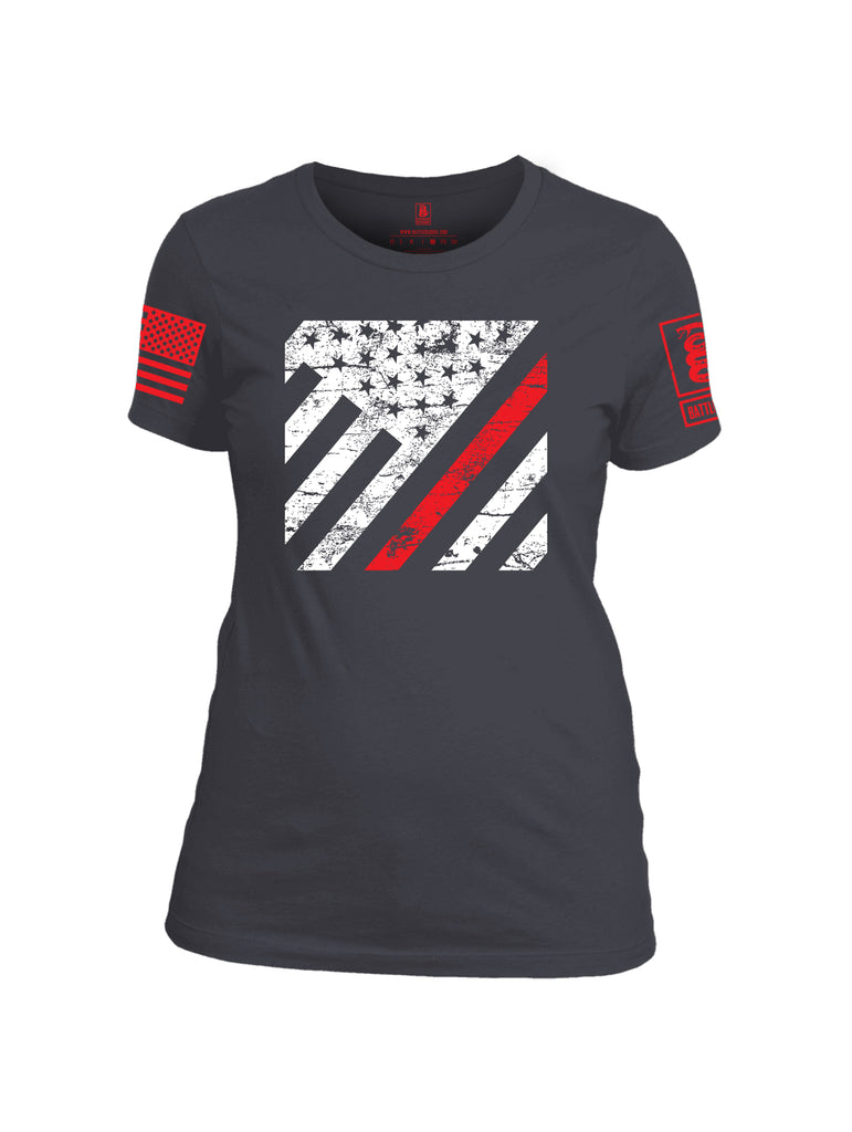Battleraddle Vertical USA Flag Red Line Red Sleeve Print Womens Cotton Crew Neck T Shirt