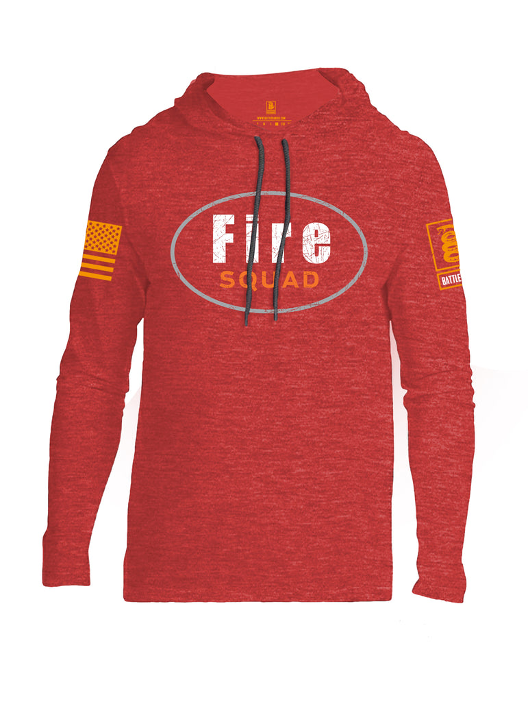 Battleraddle Fire Squad Orange Sleeve Print Mens Thin Cotton Lightweight Hoodie