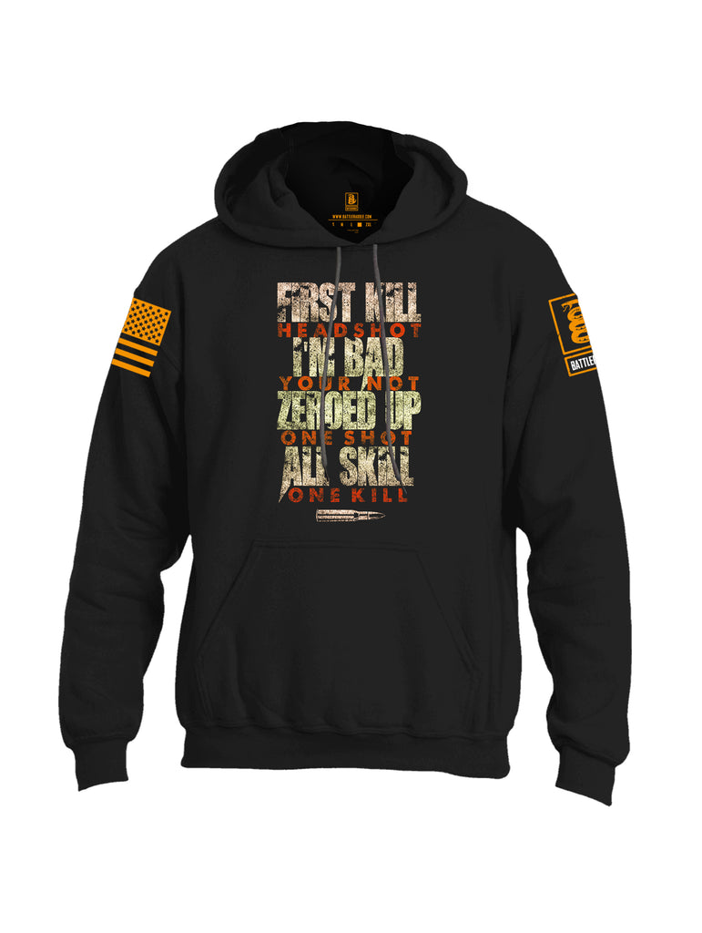 Battleraddle First Kill Head Shot Orange Sleeve Print Mens Blended Hoodie With Pockets