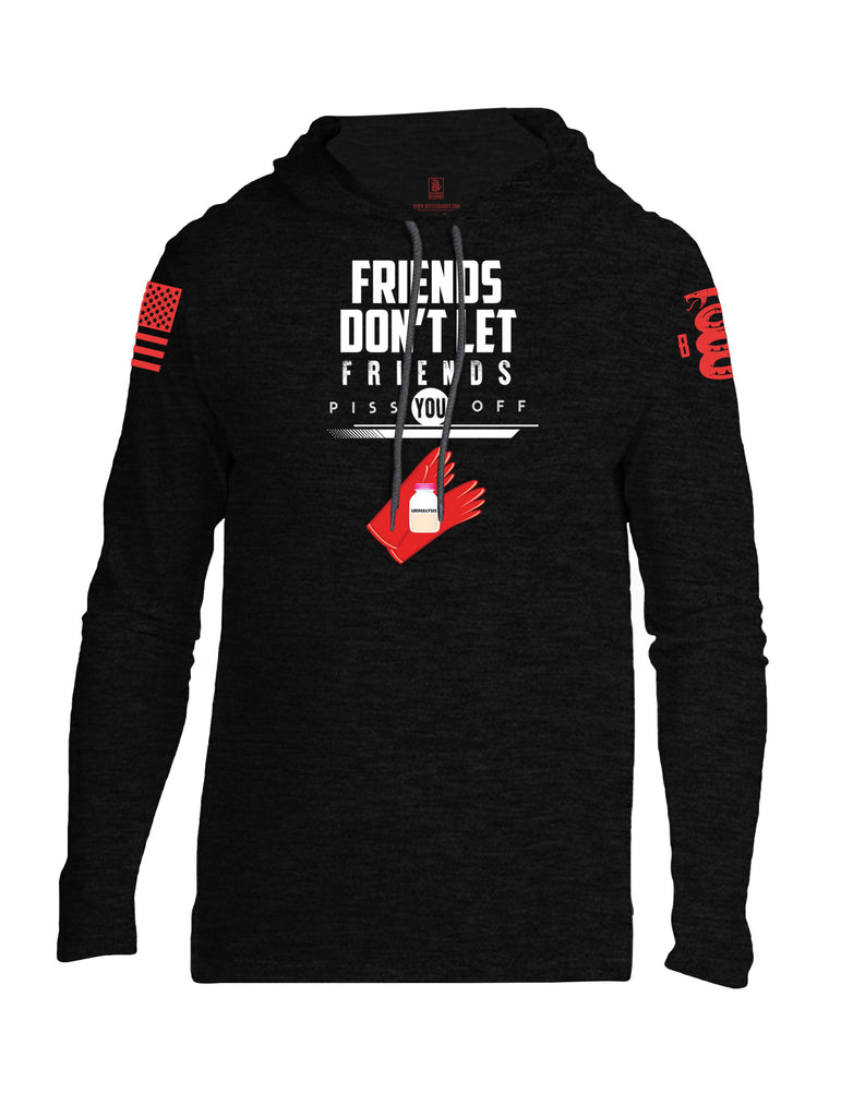 Battleraddle Friends Don't Let Friends Piss You Off Urinalysis Red Sleeve Print Mens Thin Cotton Lightweight Hoodie