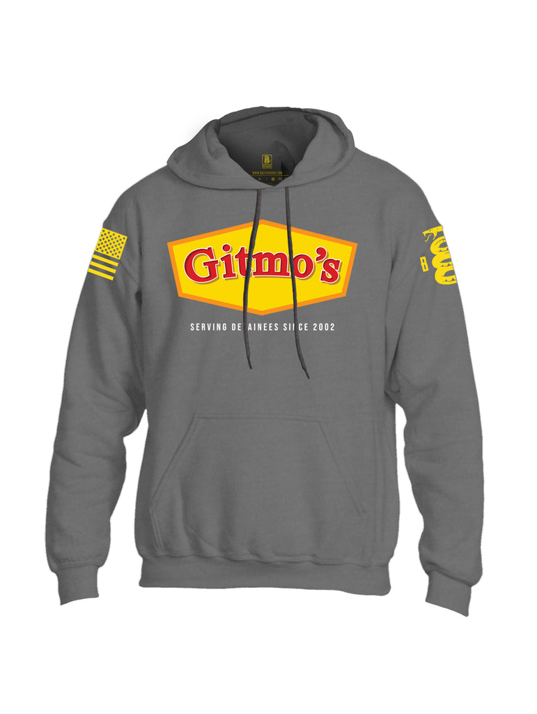 Battleraddle Gitmo's Serving Detainees Since 2002 V2 Yellow Sleeve Print Mens Blended Hoodie With Pockets