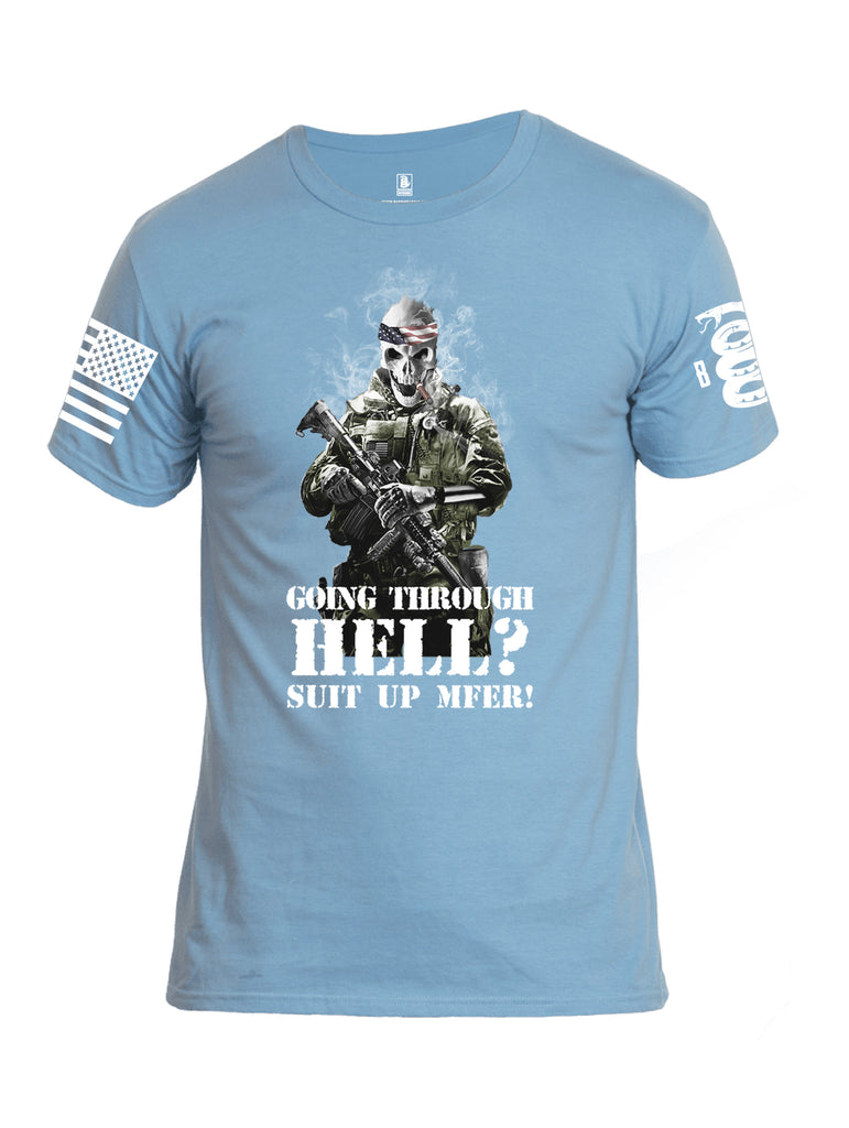 Battleraddle Going Through Hell? Suit Up MFER! White Sleeve Print Mens Cotton Crew Neck T Shirt