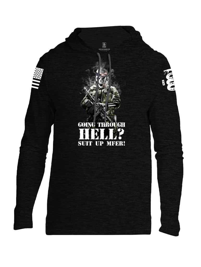 Battleraddle Going Through Hell? Suit Up MFER! White Sleeve Print Mens Thin Cotton Lightweight Hoodie