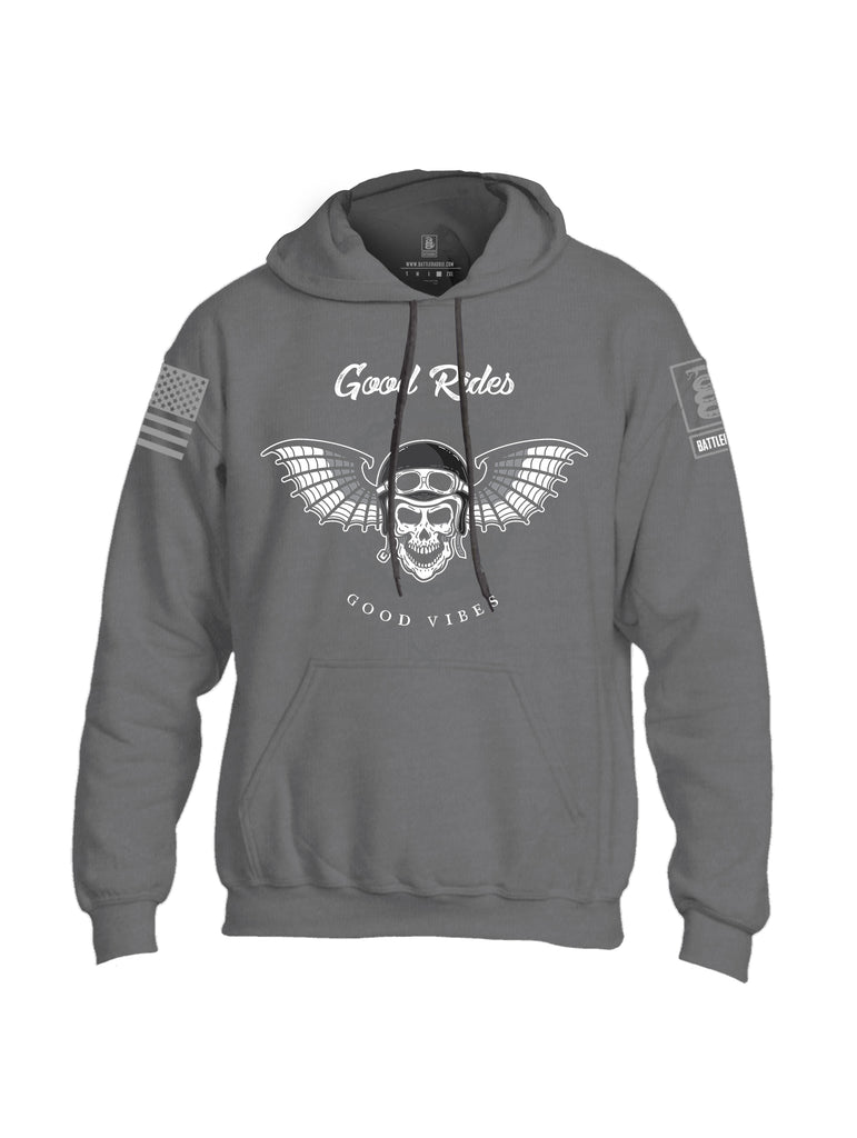 Battleraddle Good Rides Good Vibes Grey Sleeve Print Mens Blended Hoodie With Pockets