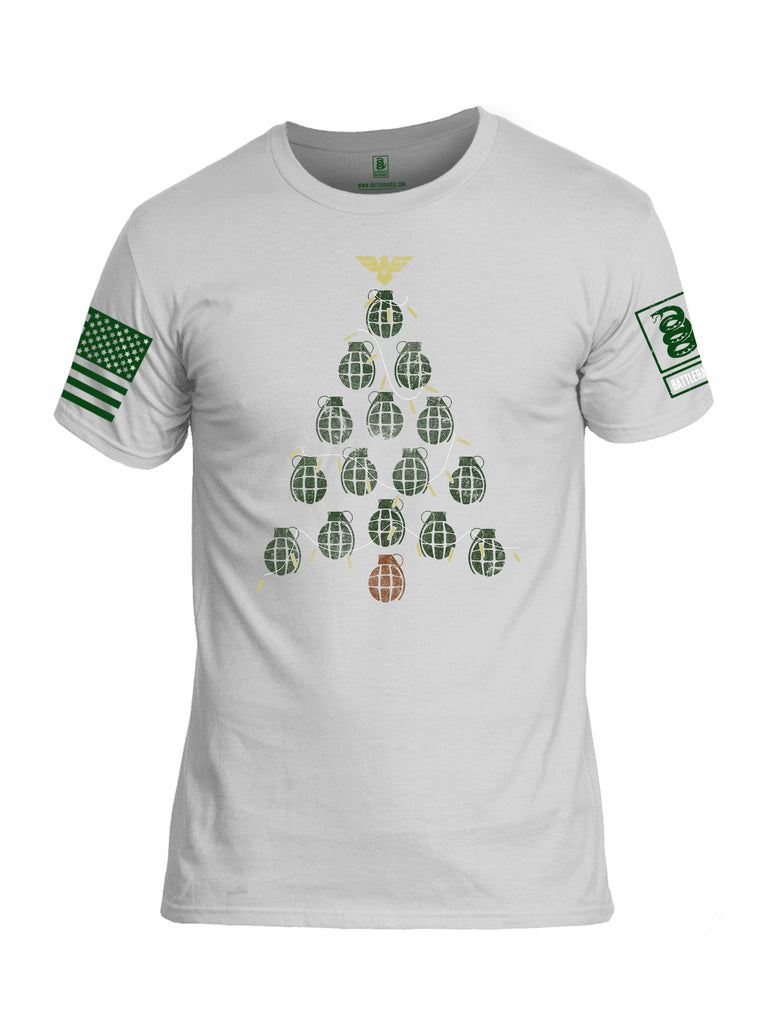 Battleraddle Christmas Greenery Grenade Tree Bomb Green Sleeve Print Mens Cotton Crew Neck T Shirt
