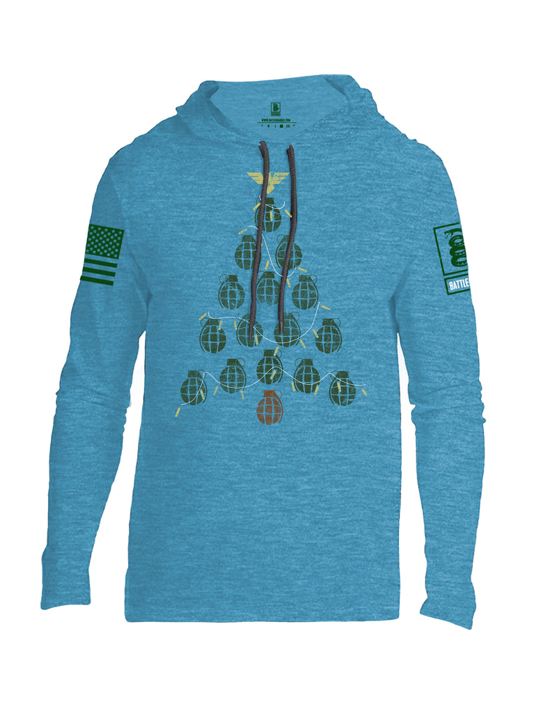 Battleraddle Christmas Greenery Grenade Tree Bomb Green Sleeve Print Mens Thin Cotton Lightweight Hoodie