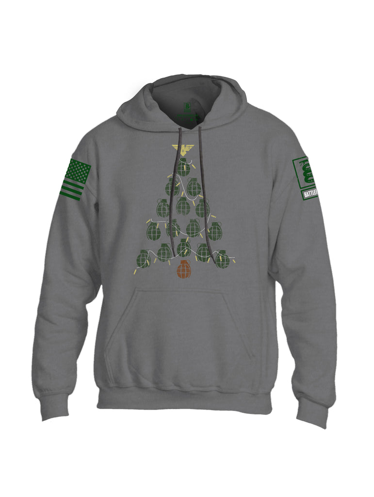 Battleraddle Christmas Greenery Grenade Tree Bomb Green Sleeve Print Mens Blended Hoodie With Pockets