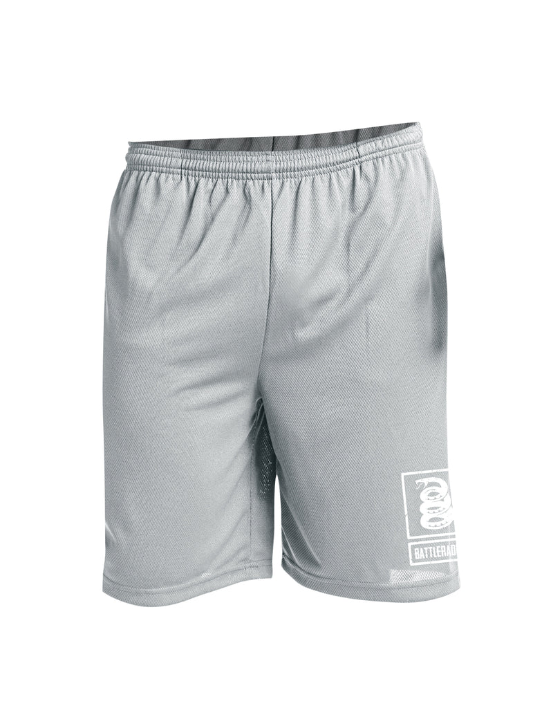 Battleraddle Snake Logo White Leg Print 100% Battlefit Polyester Mens Elastic Waistband Shorts With Pockets