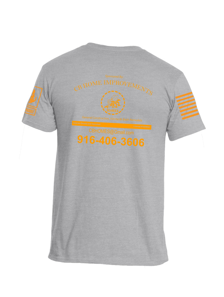 Battleraddle Vietnam Didn't Kill Me But The Agent Orange Is Sponsored By CB Home Improvements Orange Sleeve Print Mens Cotton Crew Neck T Shirt