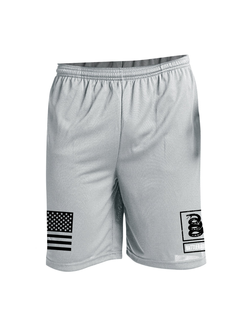 Battleraddle Flag And Snake Logo Black Leg Print 100% Battlefit Polyester Mens Elastic Waistband Shorts With Pockets
