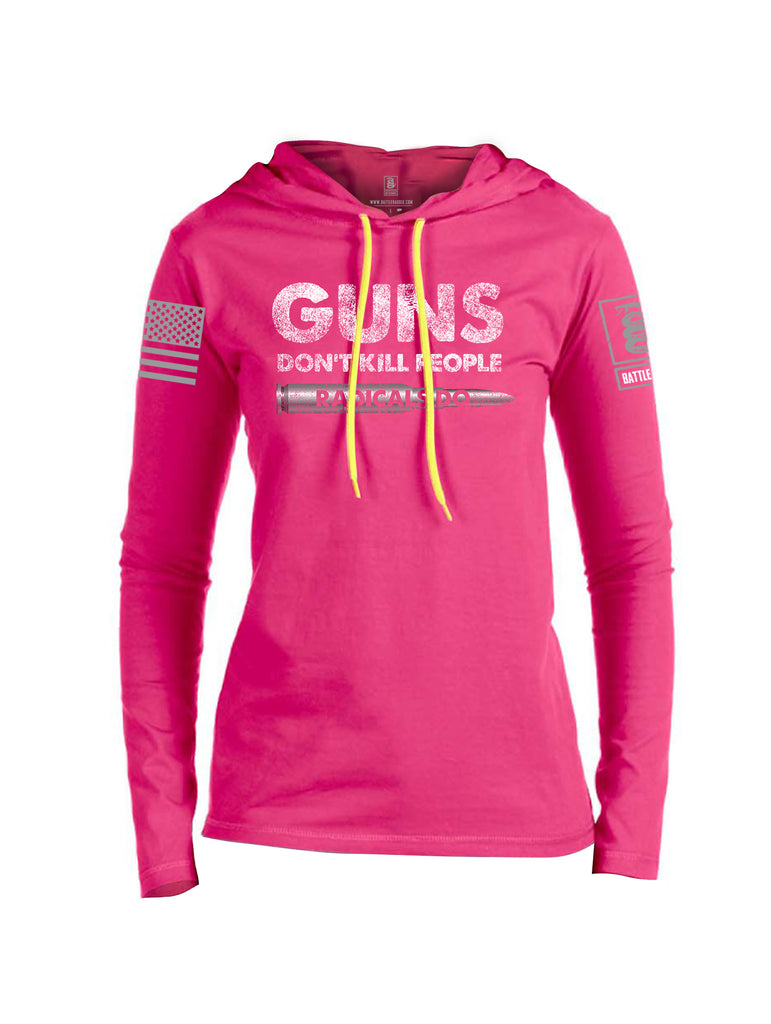 Battleraddle Guns Dont Kill People Radicals Do Red Sleeve Print Womens Thin Cotton Lightweight Hoodie