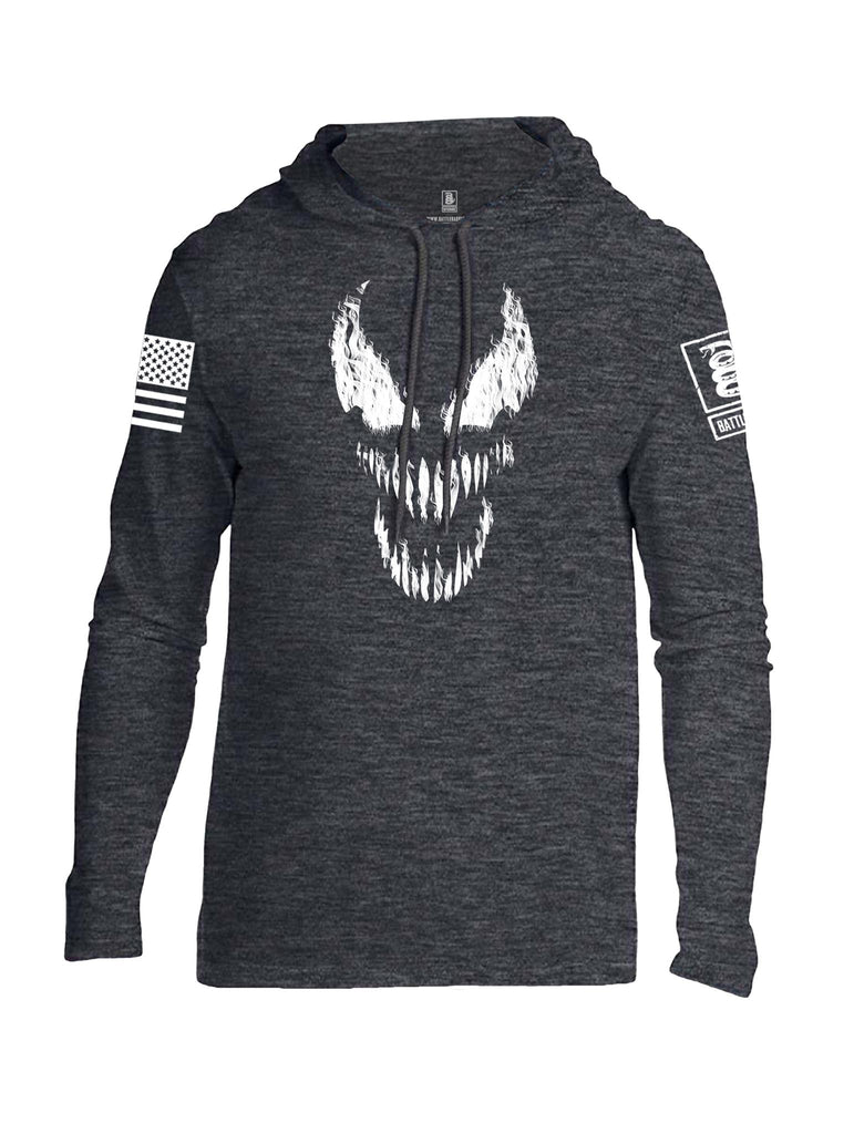 Battleraddle Classic Venom White Sleeve Print Mens Thin Cotton Lightweight Hoodie - Battleraddle® LLC