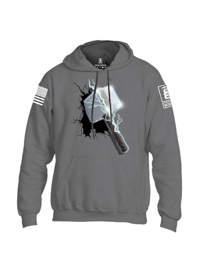Battleraddle Thorific Hammer White Sleeve Print Mens Blended Hoodie With Pockets