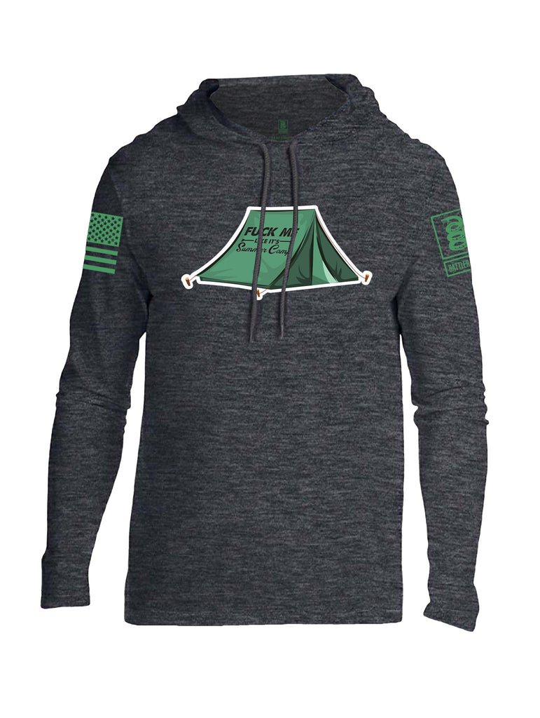Battleraddle Fuck Me Like Its Summer Camp Light Green Sleeve Print Mens Thin Cotton Lightweight Hoodie