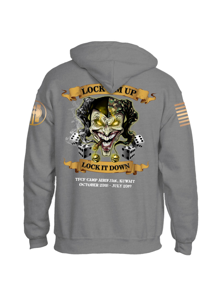 Battleraddle HHC 324th MP BN Det 3 Lock Em Up Lock It Down TFCF Camp Airifjan Kuwait October 2018 - July 2019 Brass Sleeve Print Mens Blended Hoodie With Pockets