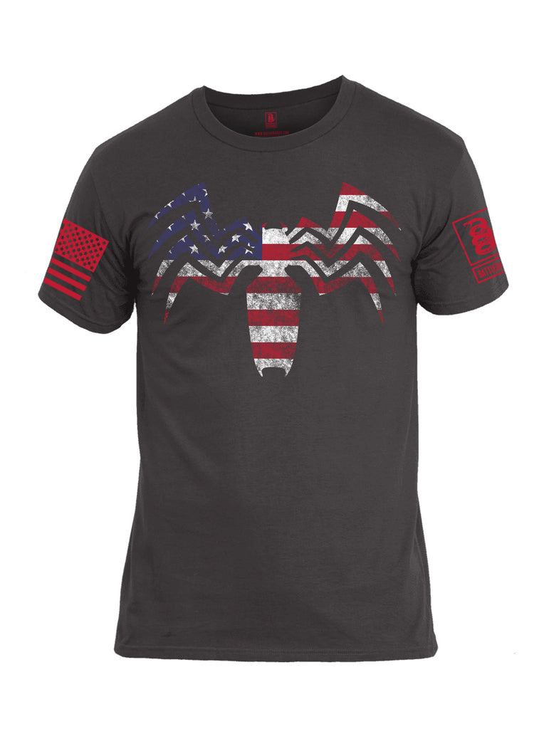 Battleradddle Venom USA Flag Red Sleeve Print Mens Cotton Crew Neck T Shirt - Battleraddle® LLC