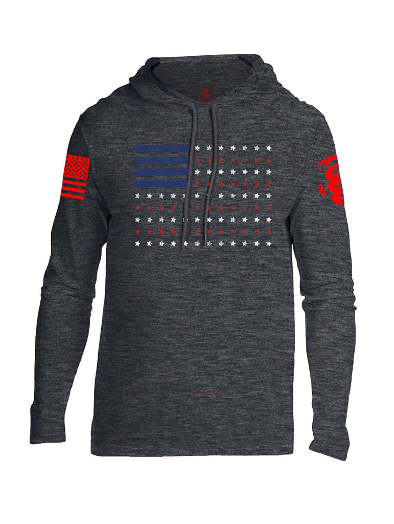 Battleraddle Horizontal Four Blocks Flag Red Sleeve Print Mens Thin Cotton Lightweight Hoodie