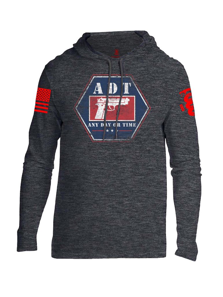 Battleraddle ADT Any Day Or Time Red Sleeve Print Mens Thin Cotton Lightweight Hoodie - Battleraddle® LLC