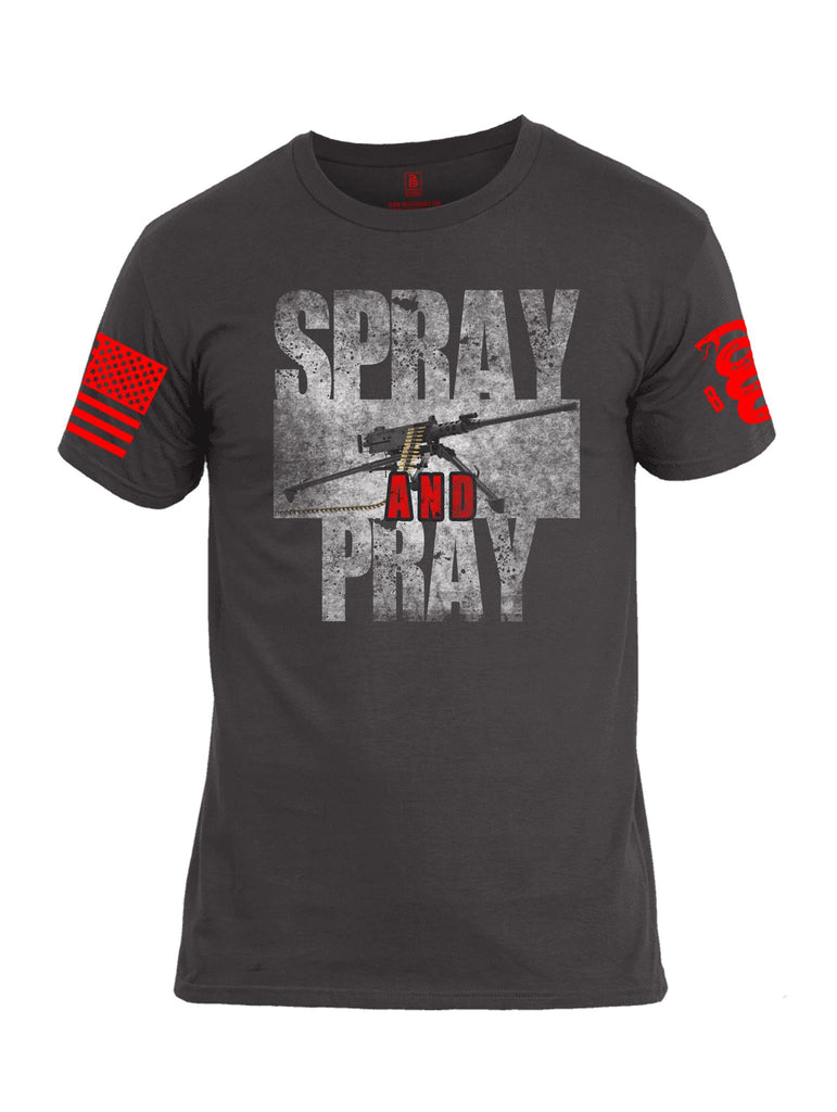 Battleraddle Spray And Pray Red Sleeve Print Mens Cotton Crew Neck T Shirt