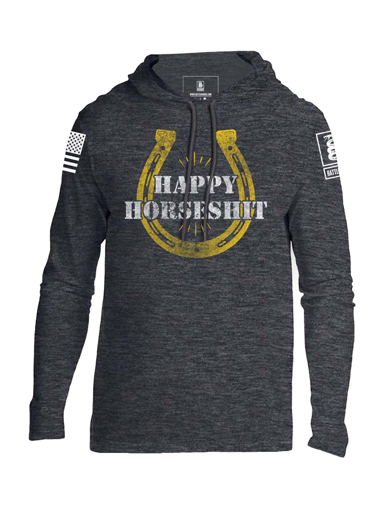 Battleraddle Happy Horseshit Mens Thin Cotton Lightweight Hoodie