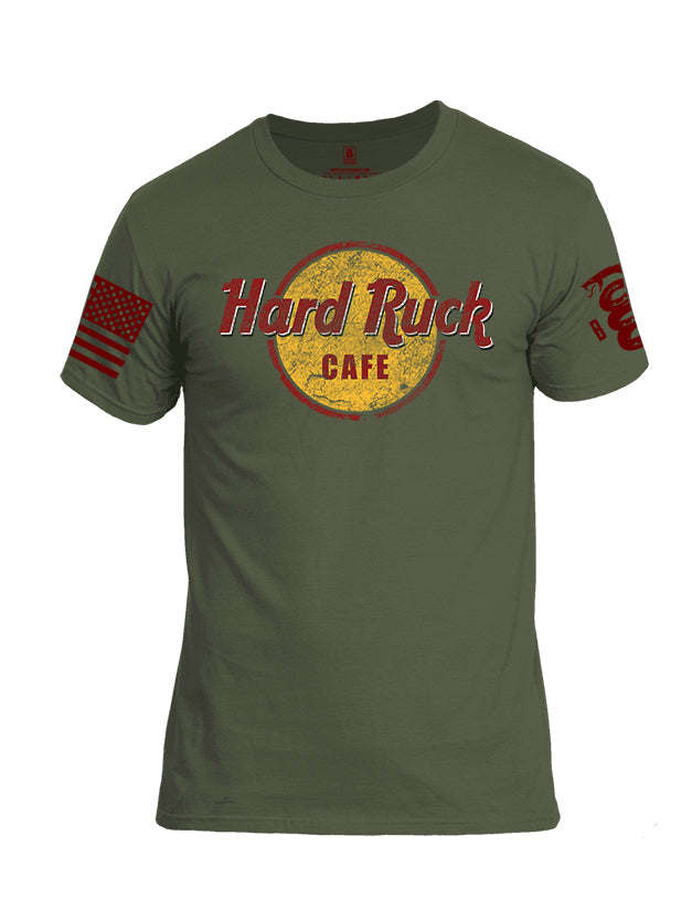 Battleraddle Hard Ruck Cafe Red Sleeve Print Mens Cotton Crew Neck T Shirt