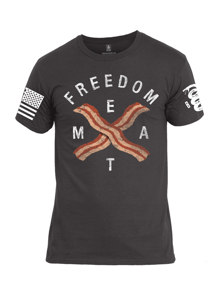 Battleraddle Freedom Meat White Sleeve Print Mens Cotton Crew Neck T Shirt