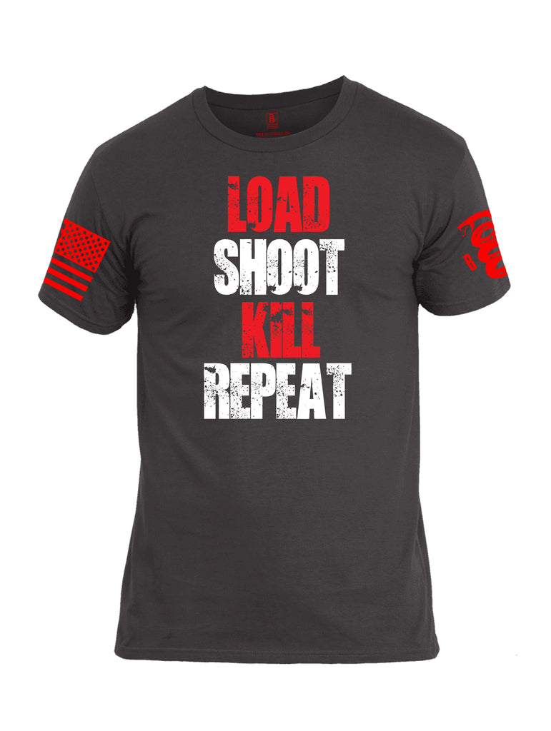 Battleraddle Load Shoot Kill Repeat Red Sleeve Print Mens Cotton Crew Neck T Shirt