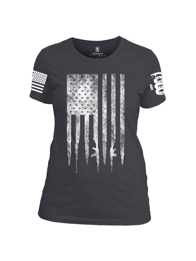 Battleraddle Gun And Bullet Flag Regular Stars White Sleeve Print Womens Cotton Crew Neck T Shirt