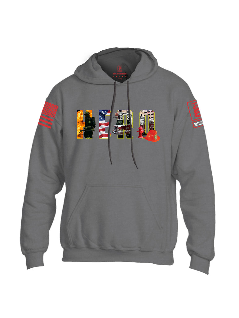 Battleraddle Hero Red Sleeve Print Mens Blended Hoodie With Pockets