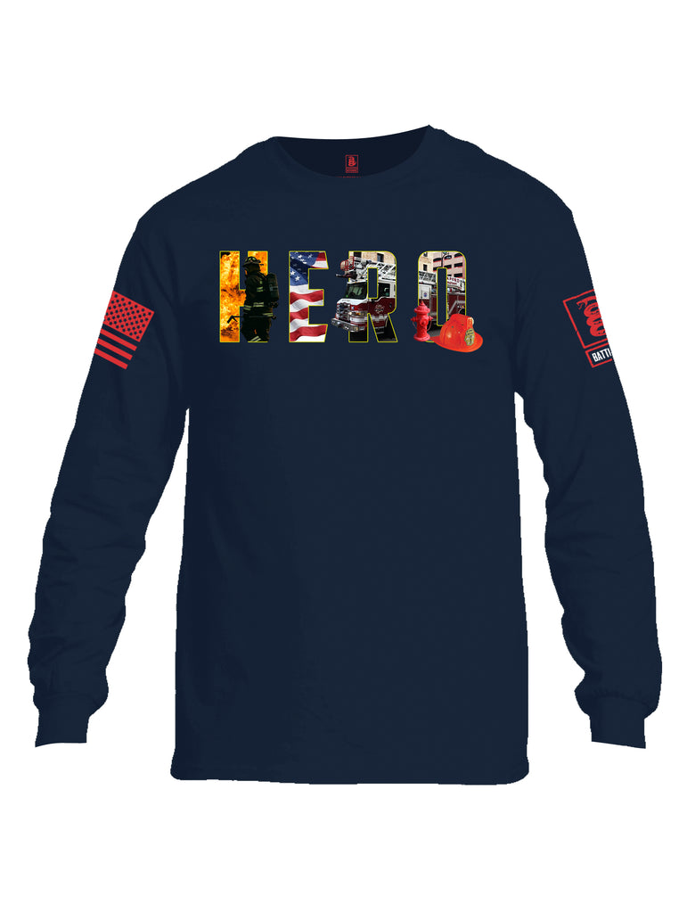 Battleraddle Hero Red Sleeve Print Mens Cotton Long Sleeve Crew Neck T Shirt