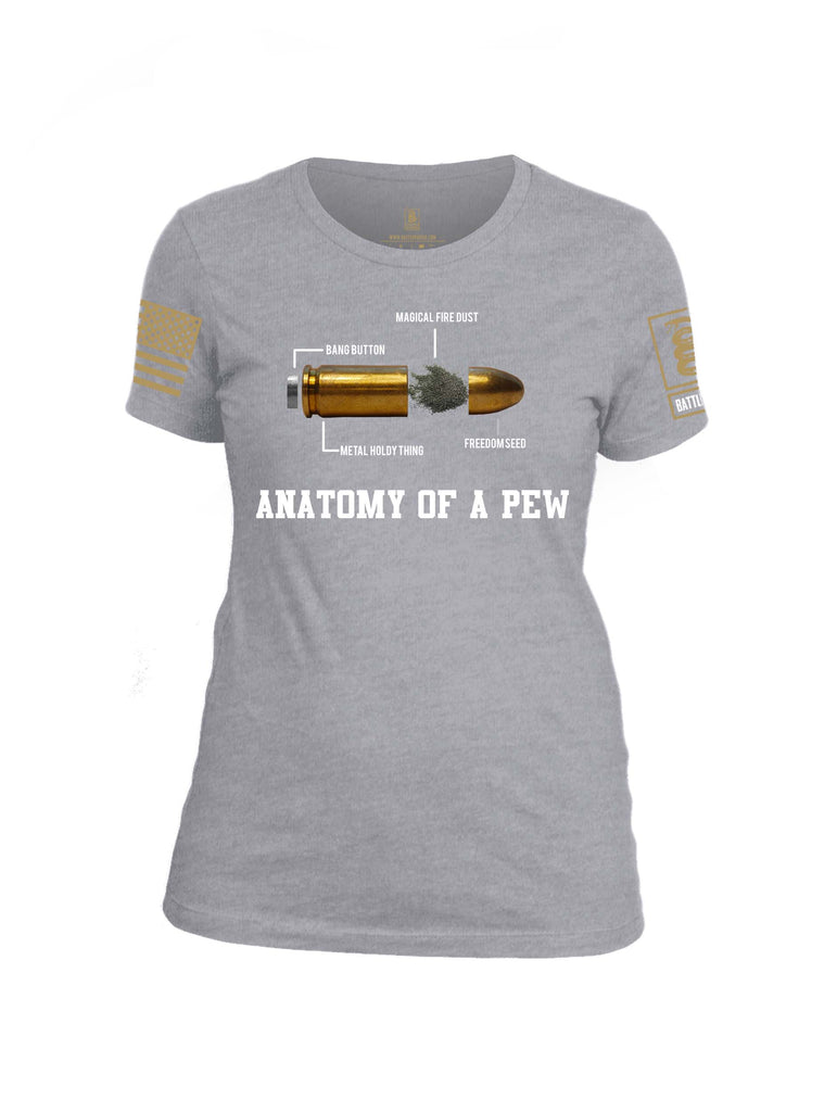Battleraddle Anatomy Of A PEW Brass Sleeve Print Womens Cotton Crew Neck T Shirt