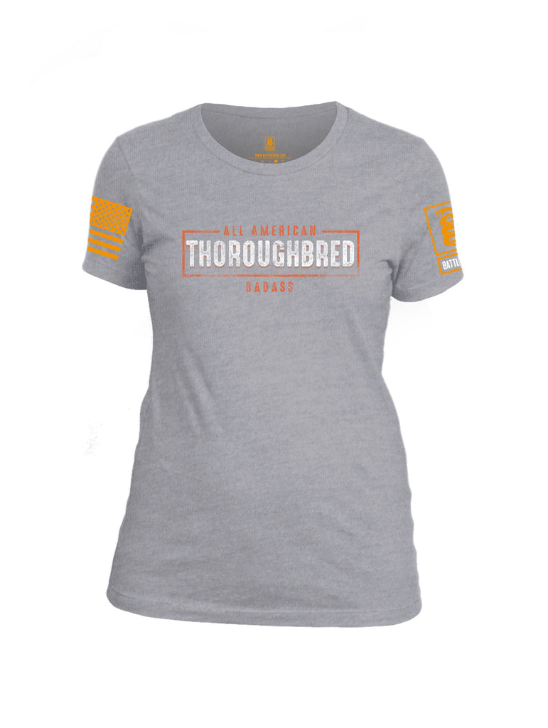 Battleraddle All American Thoroughbred Badass Orange Sleeve Print Womens Cotton Crew Neck T Shirt